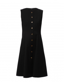 Fahey Black Stretch Cotton Shirt Dress