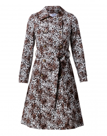 Leopard Stretch Cotton Double Breasted Trench Coat