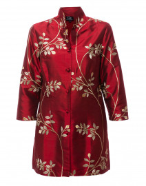 Rita Ruby and Gold Leaf Embroidered Silk Jacket