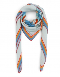 Blue and Orange Mosaic Printed Cashmere Silk Scarf
