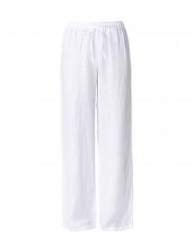 White Linen Wide Leg Drawstring Pant