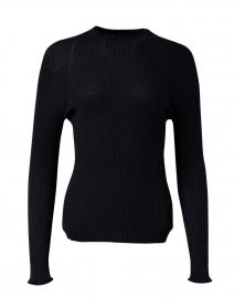 Navy Ribbed Lurex Wool Sweater