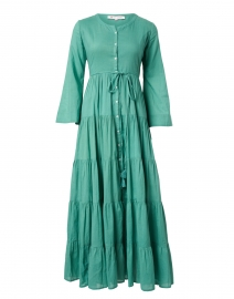 Florea Green Tiered Cotton Shirt Dress