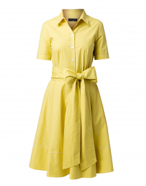 Citron Yellow Stretch Cotton Shirt Dress