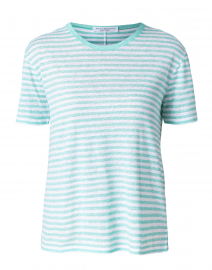 Green and White Striped Linen Tee