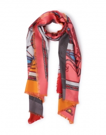 Maggiorelo Multicolor Carriage Print Silk Double Face Scarf