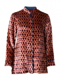Arushi Gold and Pink Geo Print Velvet Jacket