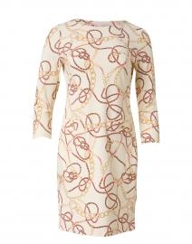 Sabine Cream Ribbon and Chain Print Dress