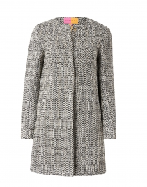 Sofia Black and White Lurex Tweed Long Jacket