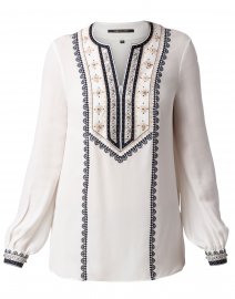 Sandi Ivory Embroidered Silk Blouse