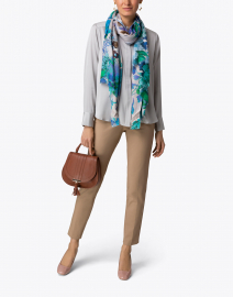Tilo - Sinsen Blue and Green Floral Modal and Silk Scarf