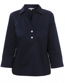 Aileen Navy Button Back Stretch Poplin Shirt