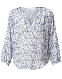 Lucy White and Blue Printed Viscose Top