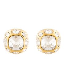 Crystal and Gold Square Clip Earrings