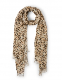 Brown Leopard Printed Linen Scarf