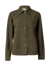 Sergio Olive Green Cotton Collared Jacket