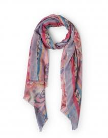 Pink and Multi Fleur de Lis Print Silk Cashmere Scarf