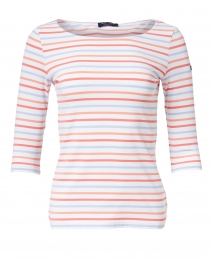 Garde Cote Blue and Coral Striped Jersey Top