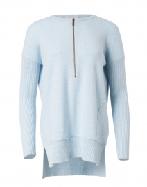 Light Blue Cashmere Zip Up Henley Sweater
