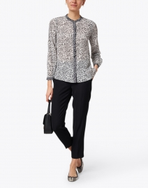 Kobi Halperin - Brette Grey and White Cheetah Printed Silk Blouse