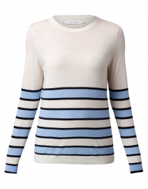 White, Blue and Navy Striped Cashmere Sweater