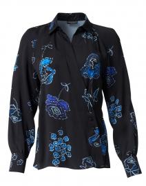 Cobalt Blue Multi Floral Print Wrap Top