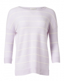 Lilac and White Stripe Cashmere Sweater