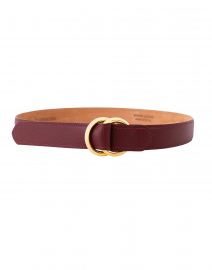 Red Leather Calf Belt with Double Gold Rings