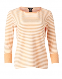 Melon Heather and White Stripe Stretch Top