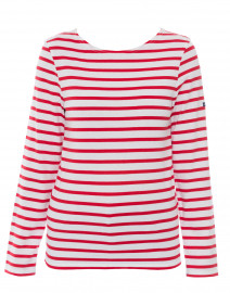 Minquidame White and Red Striped Cotton Top
