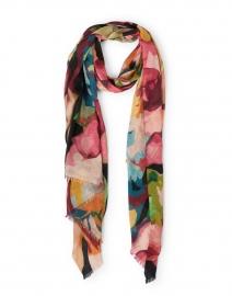 Multicolored Winter Floral Print Silk Cashmere Scarf