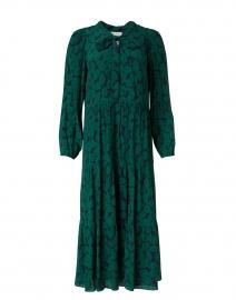 Green and Navy Leaf Print Dress
