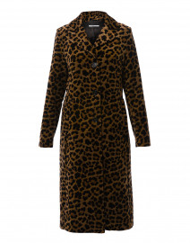 Brown Leopard Velvet Long Coat