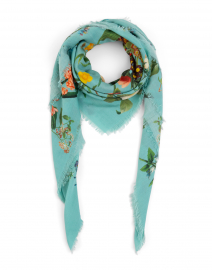 Turquoise Floral Wool and Cashmere Scarf