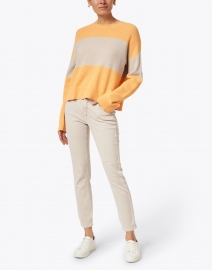 Lisa Todd - Bold Move Orange and Beige Cotton Sweater