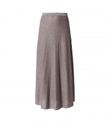 Quartz Metallic Lurex Pleated Knit Skirt