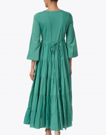 Ro's Garden - Florea Green Tiered Cotton Shirt Dress