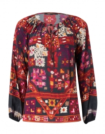 Romina Black, Red and Orange Printed Silk Blouse