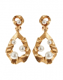 Gold Crinkled Metal and Pearl Drop Earring