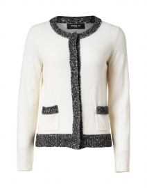 White Wool and Cashmere Knit Cardigan