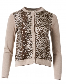 Beige Leopard Cashmere and Silk Cardigan