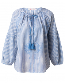 Blanche Blue Striped Embroidered Top