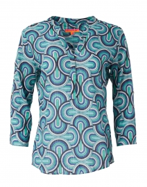 Filippa Blue Lurex Geo Print Cotton Top