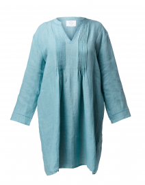 Teal Pintuck Linen Dress