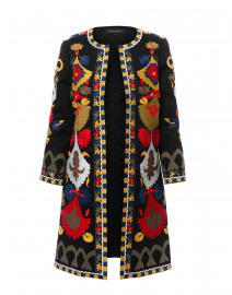 Amber Black Embroidered Stretch Cotton Coat