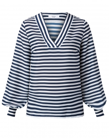 Malvina Navy and White Striped Blouse
