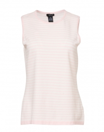 Light Pink and White Striped Viscose Knit Tank