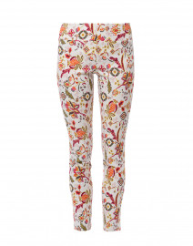 Multicolor Folk Floral White Printed Control Stretch Ankle Pant
