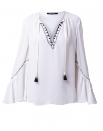 Solana White Silk Embroidered Blouse