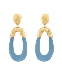 Blue Lucite Crumpled Hoop Clip Earrings